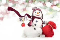 Snowman isolated on white background Stock Photos