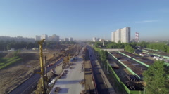 Flying over the viaduct under construction Stock Footage