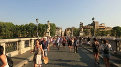 Castel Sant'angelo and Ponte Sant'Angelo Stock Footage