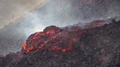 Etna, flow of volcanic lava flowing slowly Stock Footage
