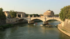 Tiber River with Castel Sant'angelo Stock Footage