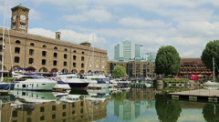 St. Catherine Docks in London Stock Footage