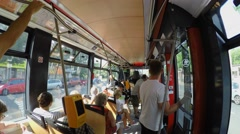 Passengers ride within the new Prague tram. Stock Footage
