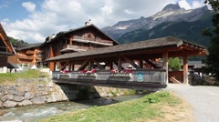 Amazing wooden building in Les Diablerets, Switzerland. Stock Footage