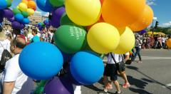Multi coloured balloons at Gay pride parade in Stockholm Stock Footage