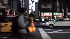 New York 013HD Manhattan car traffic at a crossing of broadway Stock Footage