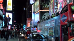 New York 035HD Manhattan times square extreme busy 7th avenue by night Stock Footage