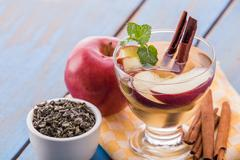 Stock Photo of infused water mix of green tea, cinnamon and apple