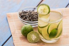 Stock Photo of infused water of lime and green tea