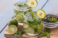 infused water mix of green tea, lime and mint leaf - stock photo