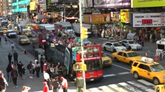 New York 198 Manhattan busy 7th avenue seen from above public platform Stock Footage