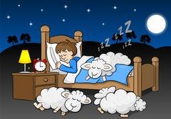 Sheep fall asleep on the bed of a sleeping man Piirros