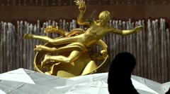 New York 225 Manhattan Rockefeller Plaza famous golden statue with fountain - stock footage
