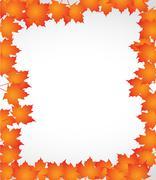 Orange autumn border leaves illustration design Stock Illustration