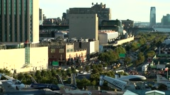 New York 280 Manhattan Hudson River Green Way 12th Avenue against evening sun Stock Footage