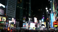New York 290 Manhattan midtown times square by night - stock footage
