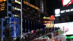 New York 314 Manhattan times square by night; public platform and stock ticker Stock Footage