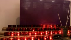 New York 331 Lower Manhattan Ground Zero; red candles in St. Paul's Chapel Stock Footage