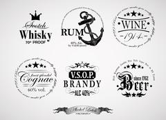 Alcohol labels Stock Illustration