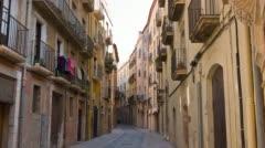 Tarragona street 4k, Catalonia, Spain, establishing shot old town buildings Stock Footage