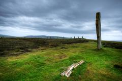 The Ring of Brodgar in Orkney at dusk Stock Photos