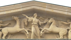 Statues on the facade of the New Guardhouse in Berlin Stock Footage