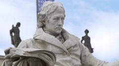 Wilhelm von Humboldt statue in Berlin Stock Footage