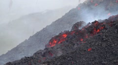 Mount Etna, lava flowing slowly Stock Footage