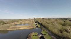 Aerial Footage of Caen Hill Locks. HD Stock Footage