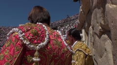 Bullfight in arena of Nîmes France - stock footage