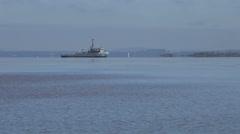 Brazilian navy ship on the Guaiba River in Porto Alegre, Brazil [LP-PoAorla04] Stock Footage