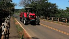 Tractor, rural road, countryside - stock footage