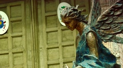 ULTRA HD 4K real time shot, Bronze statue in front of Cathedral in Verona. Stock Footage