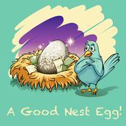 Egg in the nest - stock illustration
