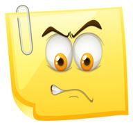 Yellow sticky note with angry face - stock illustration