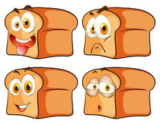 Bread with facial expression - stock illustration