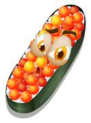 Sushi with grumpy face Stock Illustration