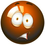 Fearful facial expression emoticon Stock Illustration