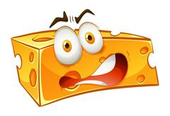 Worried looking yellow cheese - stock illustration