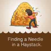 Finding needle in haystack - stock illustration