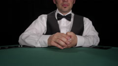 CU of dealer dealing board cards of Texas Hold 'em / Omaha face up Stock Footage