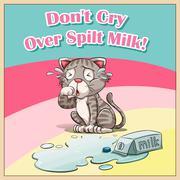 Cat crying over spilt milk Piirros