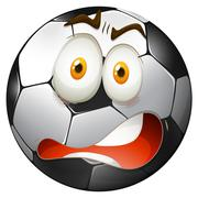 Startled facial expression football Stock Illustration