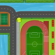 Top view of sport field and surrounding - stock illustration
