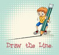 Boy drawing a line - stock illustration