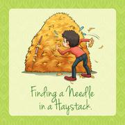 Finding needle in a haystack Stock Illustration