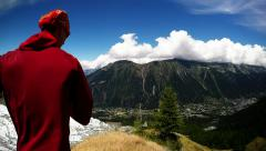 Running in the chamonix valley near the glacier and alpine meadow Stock Footage