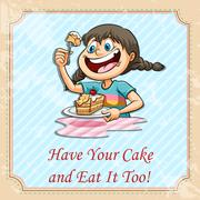 Have your cake and eat it too Stock Illustration