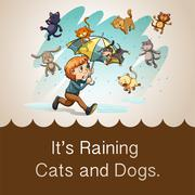 It's raining cats and dogs - stock illustration