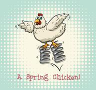 English idiom spring chicken - stock illustration